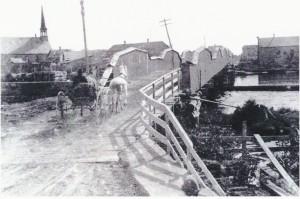 The Red Bridge (wooden bridge) was condemned in 1890.