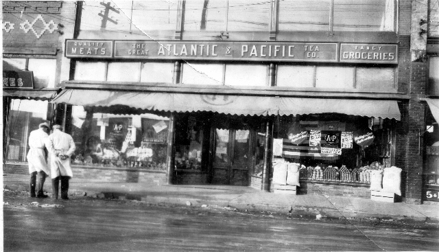The A & P store occupied a portion of the former Blumrosen building, moving there from River St. in 1929. The building is still in existence today on S. Cedar Street.