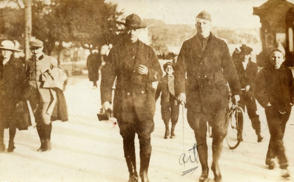 Sgt. Arthur Danielson (right) somewhere in France (1918-1919)