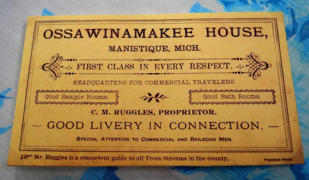 Business Card from the Ossawinamakee – George Orr Collection donated by Chris Orr