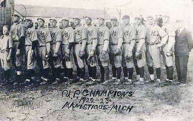 The above photo of the Manistique championship baseball team by E.O. Brault appeared in the October 4, 1923 edition of the Pioneer Tribune.